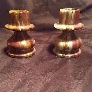 Other - Carved Soapstone Candle Holder Pair